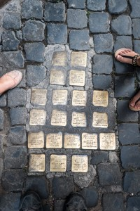 Street stones in Rome with the names of Jews sent to concentration camps.