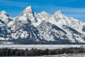 Grand Tetons.  The weather was clear and cold, the view of the Tetons was amazing.